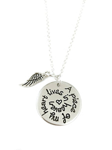 A Piece Of My Heart Lives In Heaven Spiral Necklace