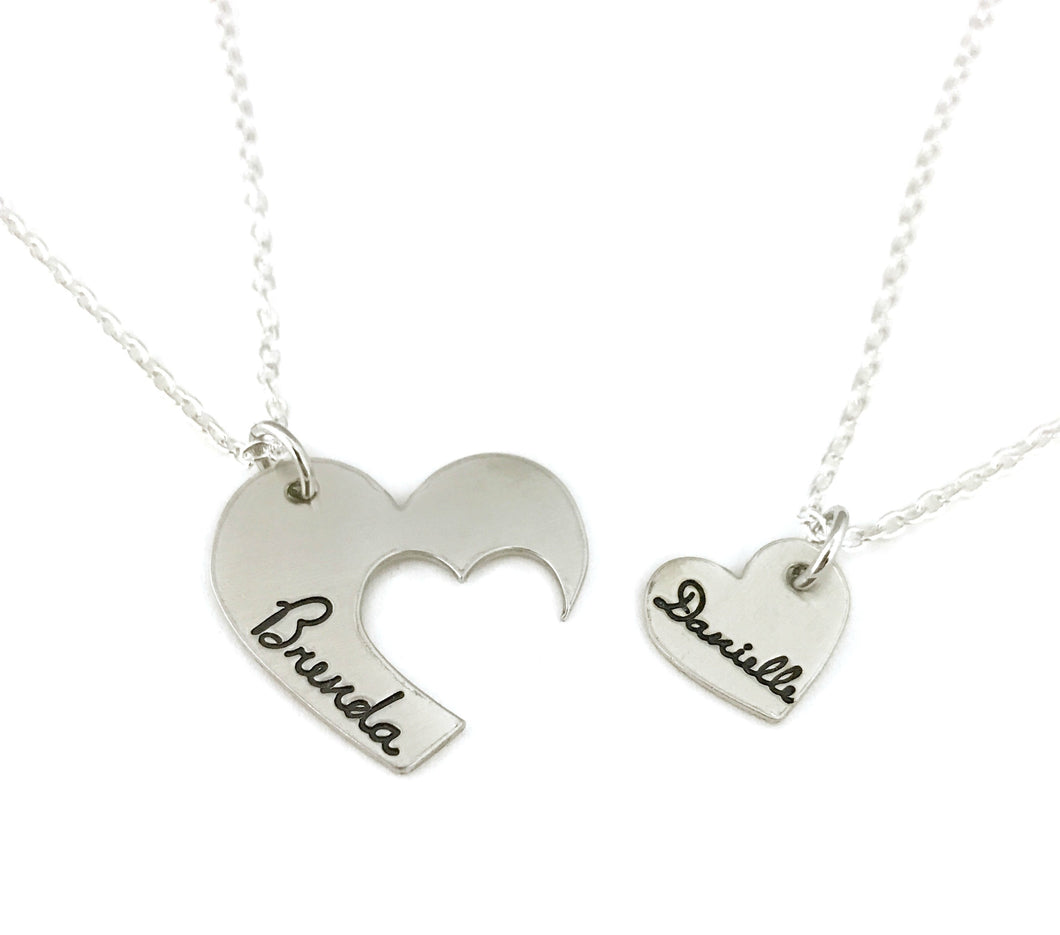 Mother & Daughter Matching Heart Set