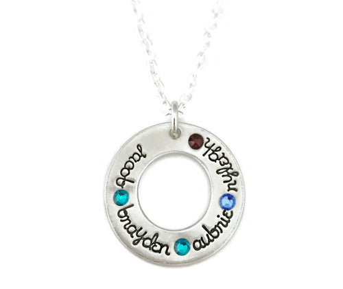 Birthstone Washer Necklace