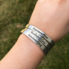 Load image into Gallery viewer, Endo Strong Hashtag Cuff - #endostrong - Endometriosis Awareness