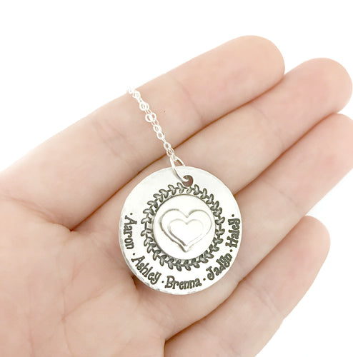 Sterling Silver Hand Soldered Heart Necklace - Vine Border