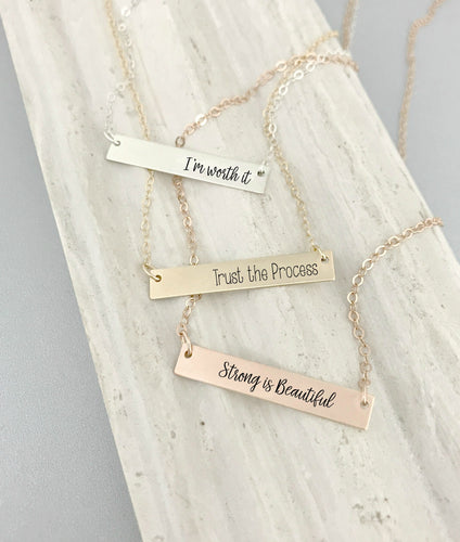 Motivational Bar Necklace - Fitness / Weight Loss / Recovery