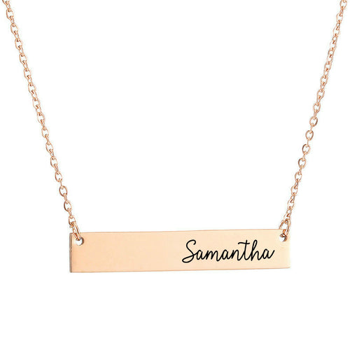 Rose Gold Name Bar Necklace - Initial Necklace - Bridesmaid Gift - Gift For Her