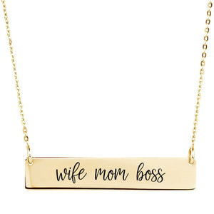 Wife Mom Boss Bar Necklace - Sterling Silver, Rose Gold and Gold Filled
