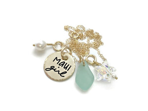 Maui Girl 14k Solid Gold Pearl Sea Glass Swarovski Star Necklace