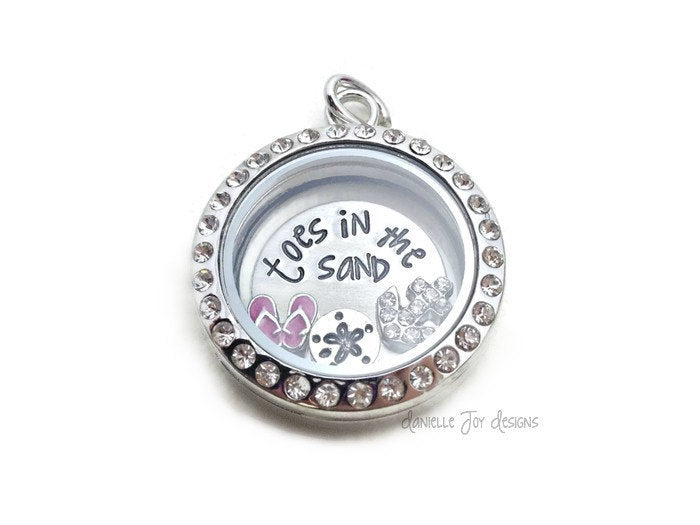 Toes in the Sand - Crystal Floating Stainless Steel Locket - Personalized Necklace