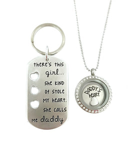 There's This Girl She Kind of Stole My Heart She Calls Me Daddy - Daddy's Heart Key Chain and Locket Set