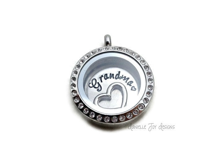 GRANDMA Crystal Floating Stainless Steel Locket - Personalized Necklace