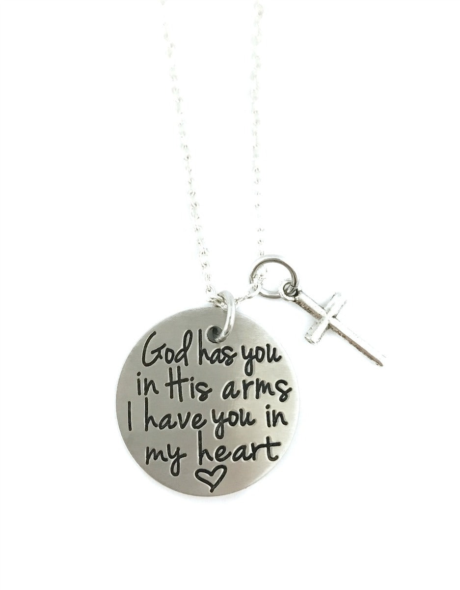 God Has You In His Arms I Have You In My Heart Cross Necklace