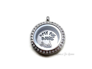 Love My Fur Babies - Crystal Floating Stainless Steel Locket - Personalized Necklace