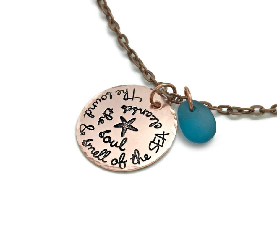The Sound and Smell of the Sea Cleanses The Soul - Copper Necklace