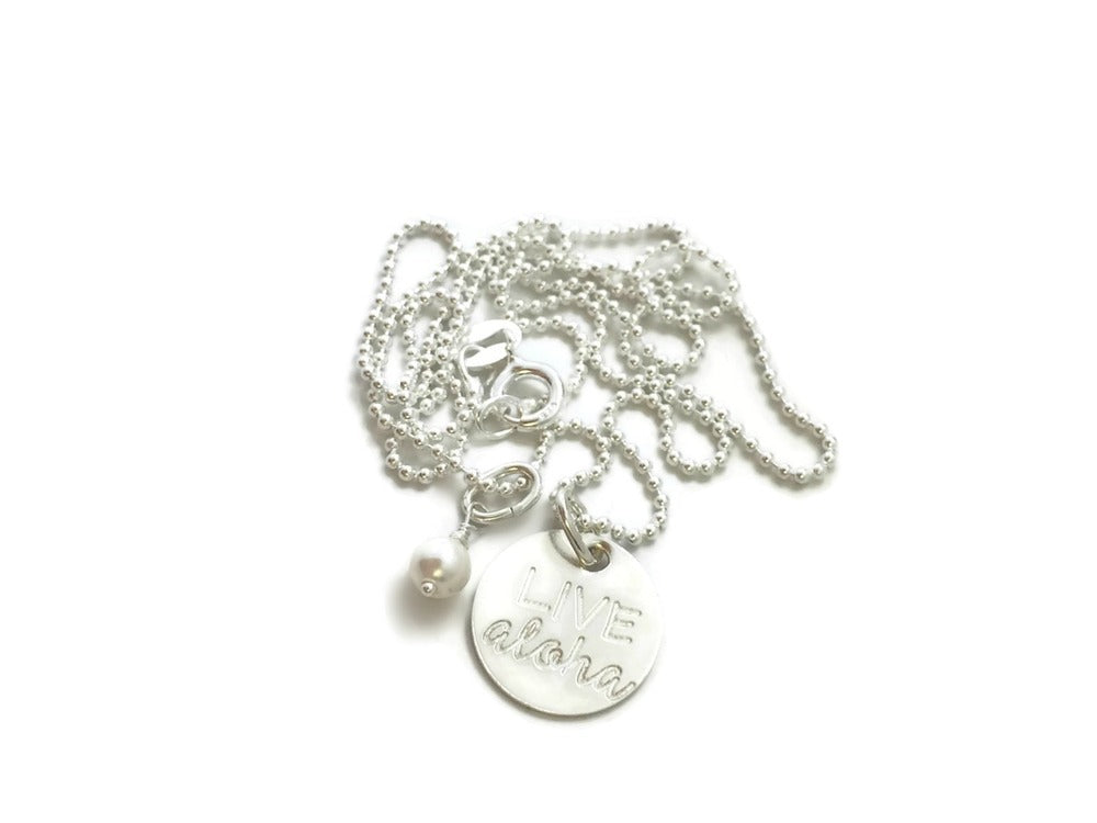 Live Aloha Small Round Pearl Sterling Silver Necklace