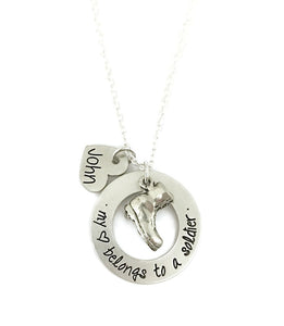My Heart Belongs To A Soldier Combat Boot Necklace