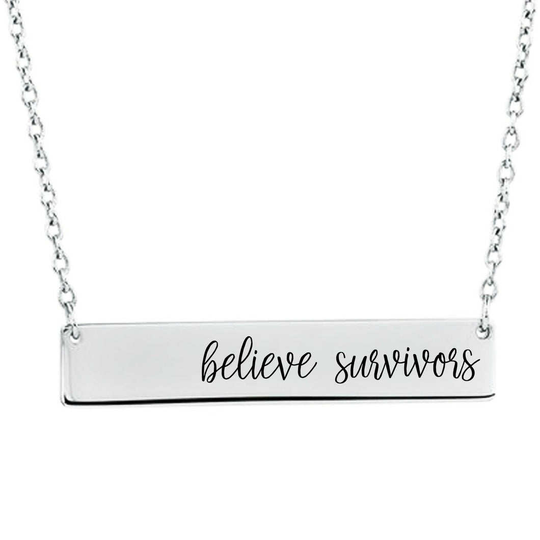 Believe Survivors Bar Necklace - Sterling Silver, Rose Gold and Gold Filled