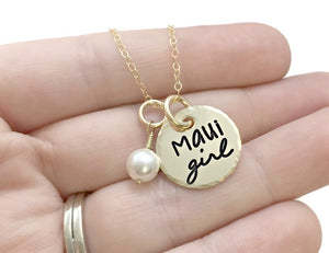 Maui Girl 14k Solid Gold Pearl Necklace