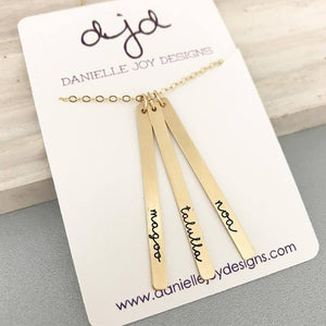 Gold Triple Name Bar Necklace - Vertical Initial Necklace - Bridesmaid Gift - Gift For Her