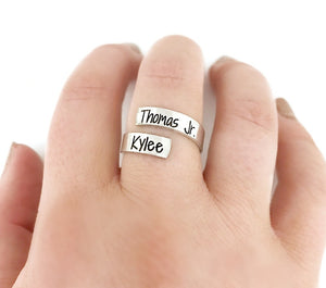Skinny Name Wrap Ring