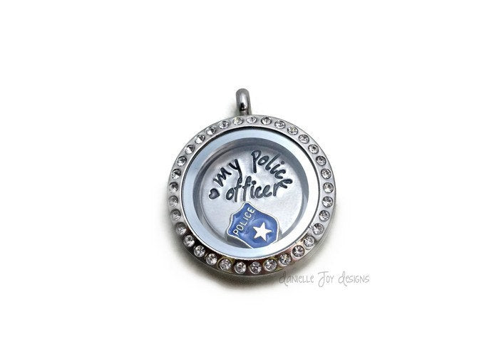 Hand Stamped Love My Police Officer Firefighter Crystal Floating Stainless Steel Locket Personalized Aluminum Necklace