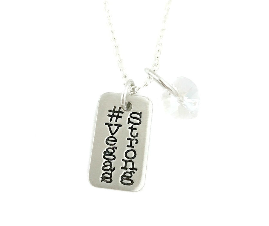 Vegas Strong Hashtag Double Sided Rectangle - #VegasStrong Nevada Necklace