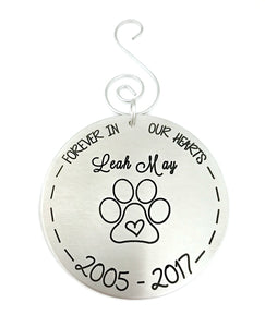 Personalized Pet Loss Christmas Ornament