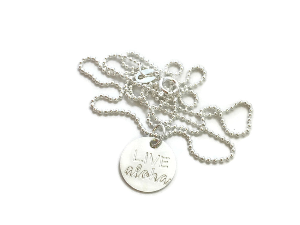 Live Aloha Small Sterling Silver Necklace