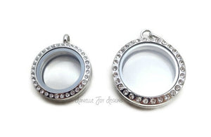 FLOATING LOCKET - 25mm or 30mm Stainless Steel Rhinestone Crystal Floating Locket