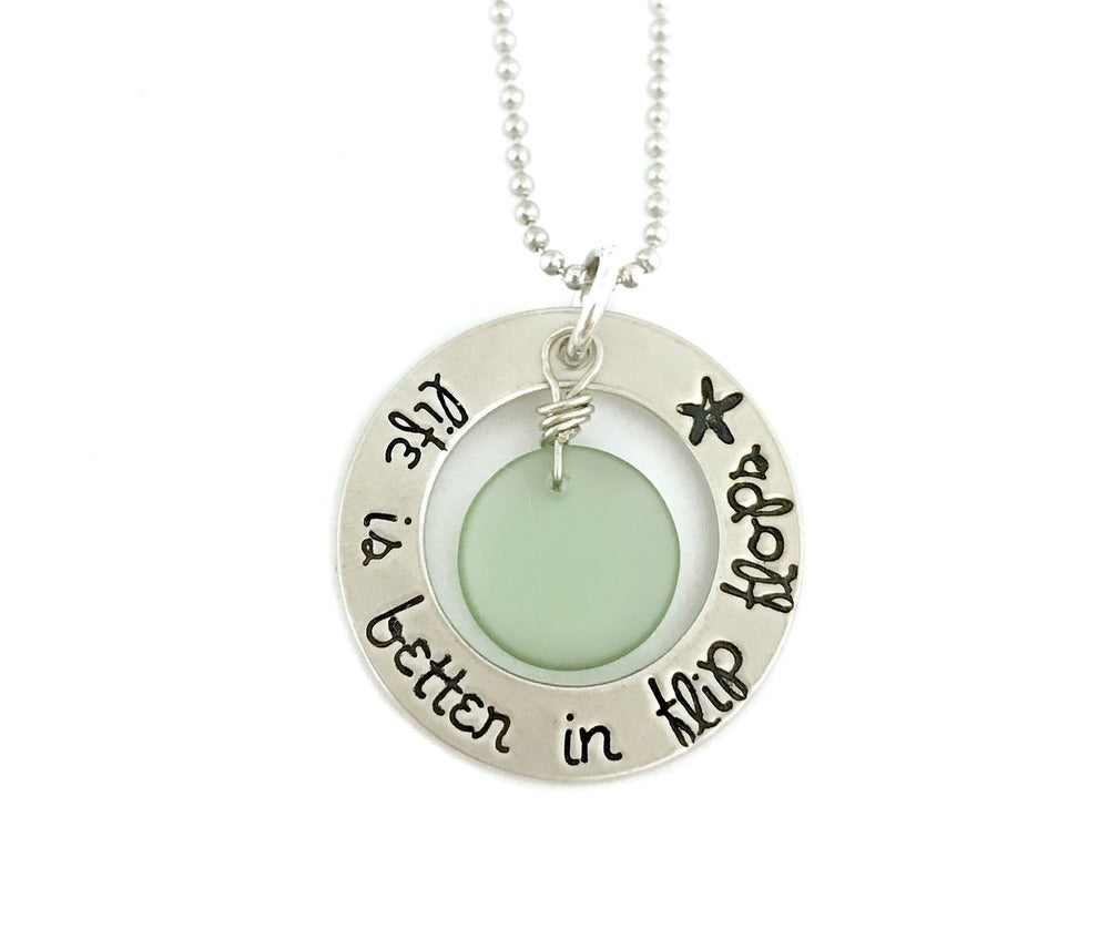 Life Is Better In Flip Flops Sea Glass Necklace