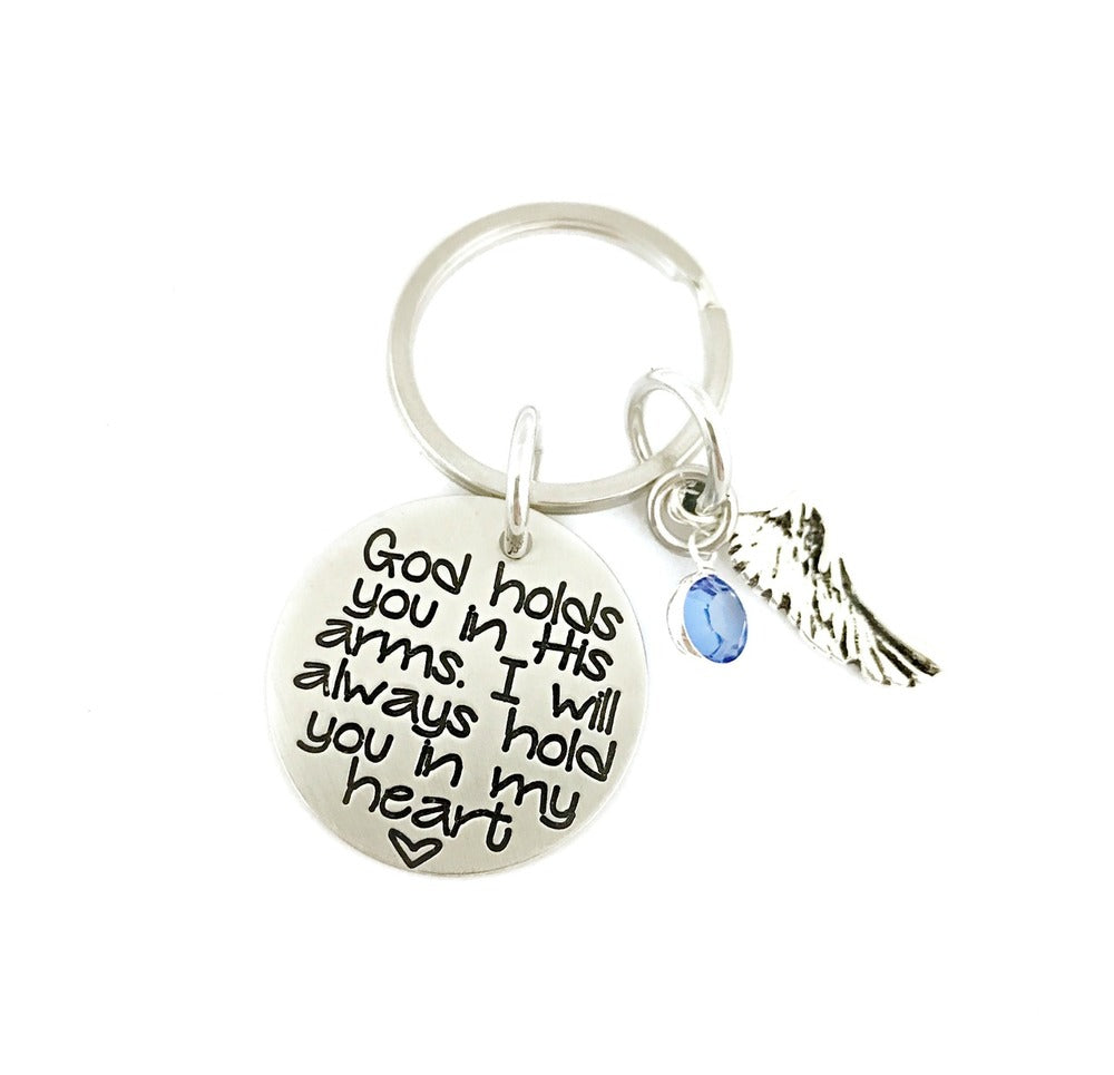 God Holds You In His Arms I Will Always Hold You In My Heart Key Chain