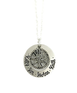 Family Tree Necklace - Silver Round Tree