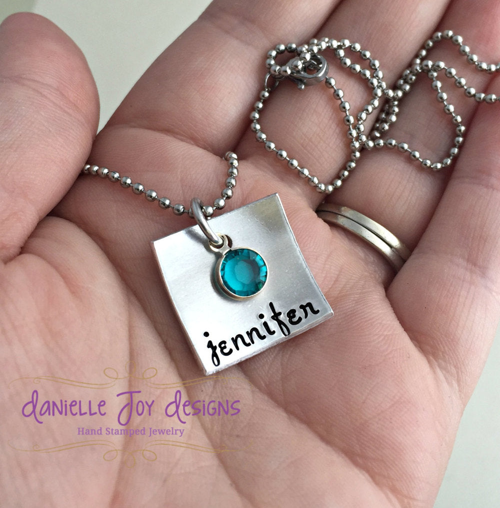 Hand Stamped Custom Square Domed Name Swarovski Birthstone Personalized Aluminum Necklace