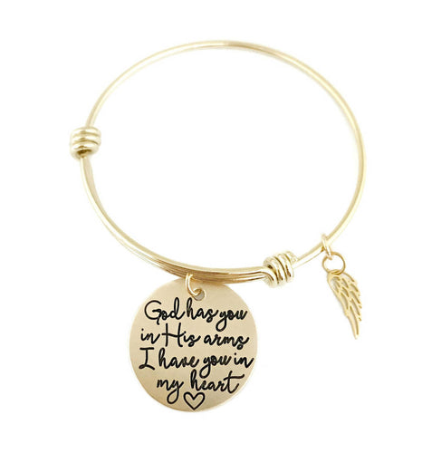 God Has You In His Arms - Gold Wing Adjustable Bracelet
