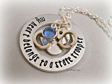 Load image into Gallery viewer, My Heart Belongs To A State Trooper Firefighter Cop Hero Marine Coastie Soldier Stamped Personalized Custom Necklace
