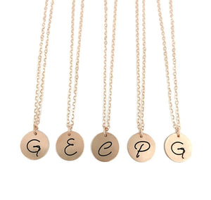Bridesmaid Initial Necklaces - Rose Gold Filled - Set of FIVE
