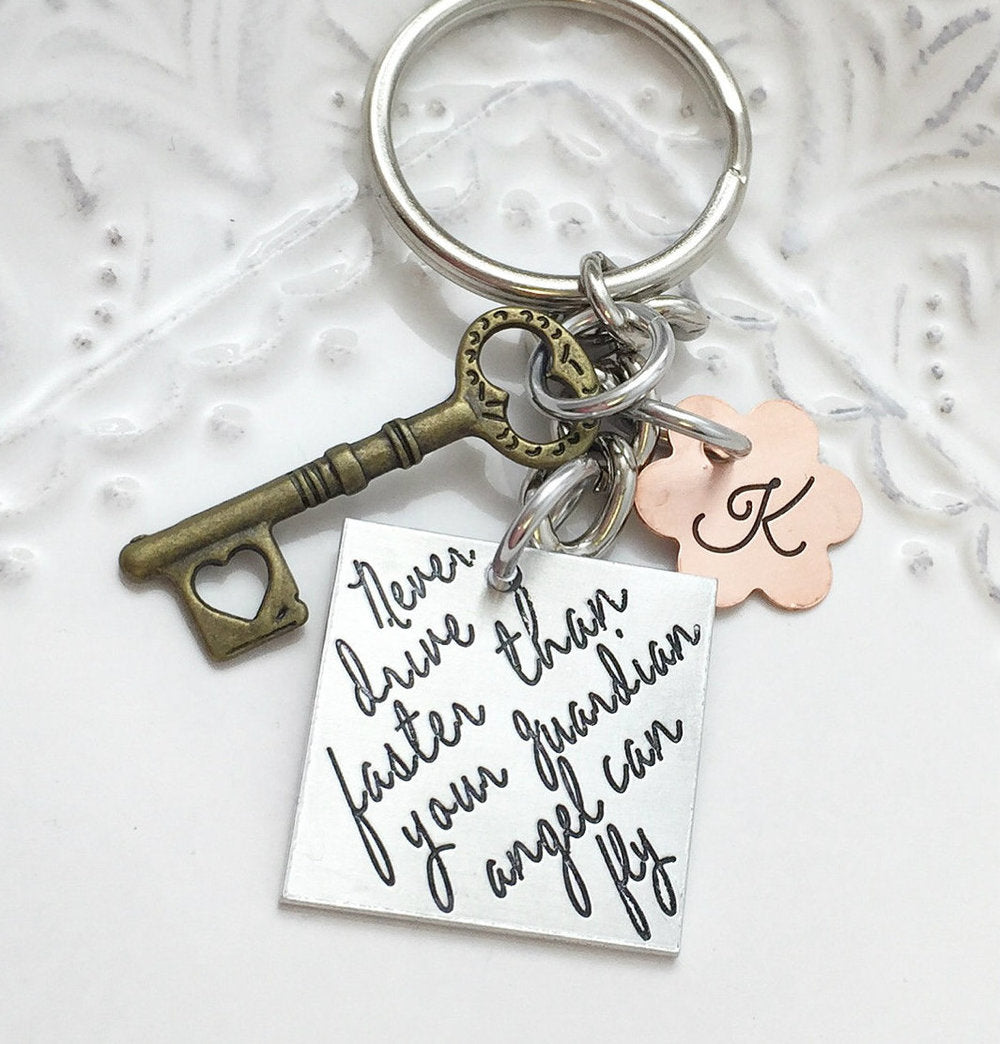 Never Drive Faster Than Your Guardian Angel Can Fly Key Chain