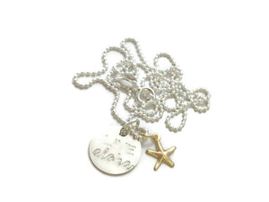 Live Aloha Small Round Gold Starfish Sterling Silver Necklace
