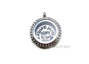 Always In My Heart - Crystal Floating Stainless Steel Locket - Personalized Necklace