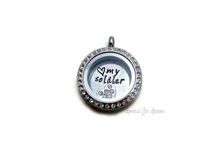 Love My Soldier - Crystal Floating Stainless Steel Locket - Personalized Necklace