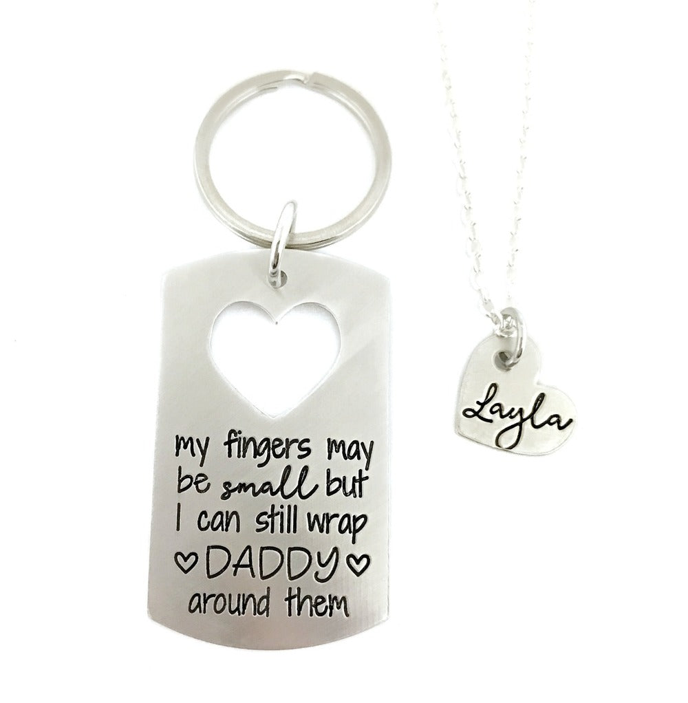 My Fingers May Be Small But I Can Still Wrap DADDY Around Them - Key Ring / Necklace Set