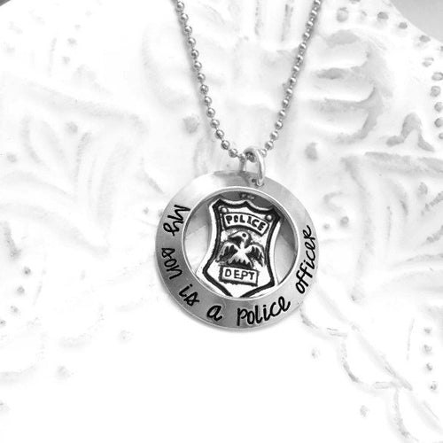 My Son is A Police Officer K9 Officer Marine Coastie State Trooper EMT Necklace