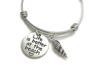 Life Is Better At The Beach Shell Bangle Bracelet