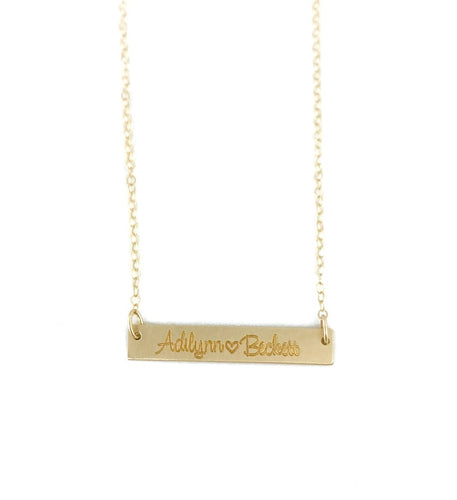 Gold Name Bar Necklace - Initial Necklace - Bridesmaid Gift - Gift For Her