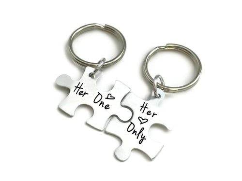 Her One Her Only Couples Puzzle Piece Keychain SET