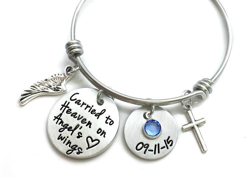 Carried To Heaven On Angel's Wings Bangle Bracelet