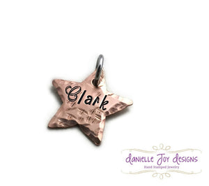 "3/4"" Textured Hammered Star Tag - Single Charm"