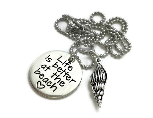 Life Is Better At The Beach Shell Necklace