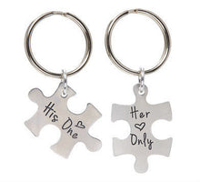 Load image into Gallery viewer, His One Her Only Couples Puzzle Piece Key Chain SET