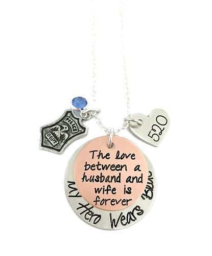 My Hero Wears Blue - The Love Between A Husband and Wife Is Forever Necklace