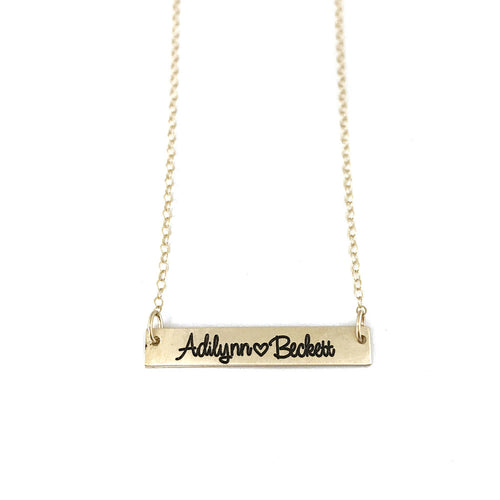 SOLID 14K GOLD Name Bar Necklace - Initial Necklace - Bridesmaid Gift - Gift For Her