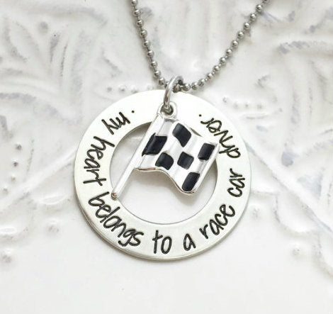 My Heart Belongs To A Race Car Driver Necklace