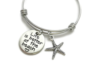Life Is Better At The Beach Starfish Bangle Bracelet